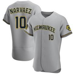 Omar Narvaez Milwaukee Brewers Men's Authentic Road Jersey - Gray
