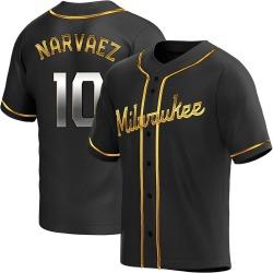 Omar Narvaez Milwaukee Brewers Men's Replica Alternate Jersey - Black Golden