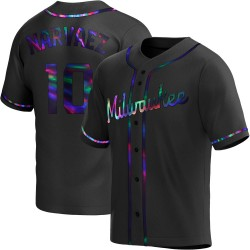 Omar Narvaez Milwaukee Brewers Men's Replica Alternate Jersey - Black Holographic