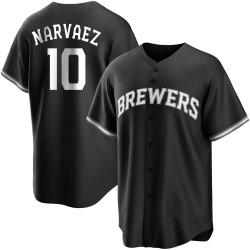 Omar Narvaez Milwaukee Brewers Men's Replica Black/ Jersey - White