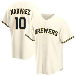 Omar Narvaez Milwaukee Brewers Men's Replica Home Jersey - Cream