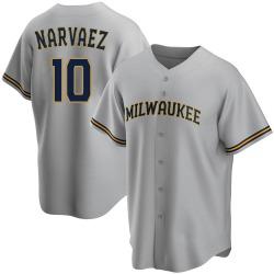 Omar Narvaez Milwaukee Brewers Men's Replica Road Jersey - Gray