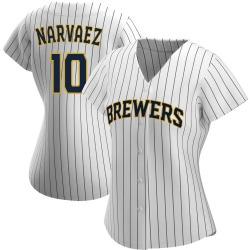 Omar Narvaez Milwaukee Brewers Women's Authentic /Navy Alternate Jersey - White