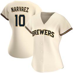 Omar Narvaez Milwaukee Brewers Women's Authentic Home Jersey - Cream