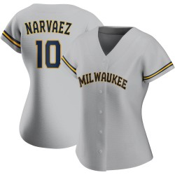 Omar Narvaez Milwaukee Brewers Women's Authentic Road Jersey - Gray