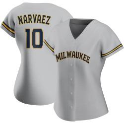 Omar Narvaez Milwaukee Brewers Women's Replica Road Jersey - Gray