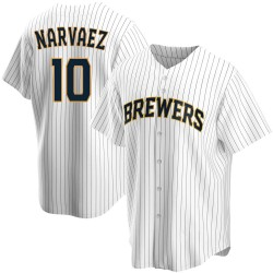Omar Narvaez Milwaukee Brewers Youth Replica Home Jersey - White