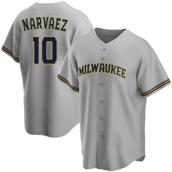 Omar Narvaez Milwaukee Brewers Youth Replica Road Jersey - Gray