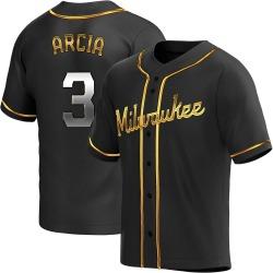 Orlando Arcia Milwaukee Brewers Youth Replica Alternate Jersey - Black Golden