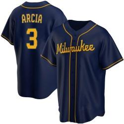 Orlando Arcia Milwaukee Brewers Youth Replica Alternate Jersey - Navy