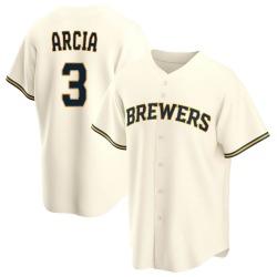 Orlando Arcia Milwaukee Brewers Youth Replica Home Jersey - Cream