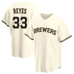 Pablo Reyes Milwaukee Brewers Youth Replica Home Jersey - Cream