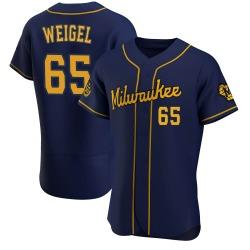 Patrick Weigel Milwaukee Brewers Men's Authentic Alternate Jersey - Navy
