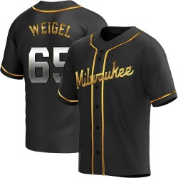 Patrick Weigel Milwaukee Brewers Men's Replica Alternate Jersey - Black Golden