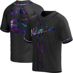 Patrick Weigel Milwaukee Brewers Men's Replica Alternate Jersey - Black Holographic
