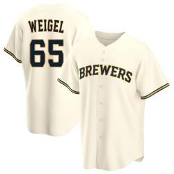 Patrick Weigel Milwaukee Brewers Men's Replica Home Jersey - Cream