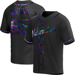 Patrick Weigel Milwaukee Brewers Youth Replica Alternate Jersey - Black Holographic