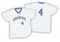 Paul Molitor Milwaukee Brewers Men's Authentic White/ Strip Throwback Jersey - Blue