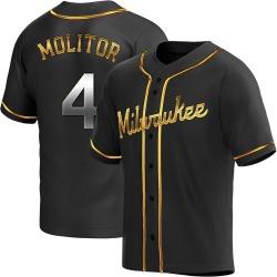Paul Molitor Milwaukee Brewers Men's Replica Alternate Jersey - Black Golden