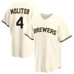 Paul Molitor Milwaukee Brewers Men's Replica Home Jersey - Cream