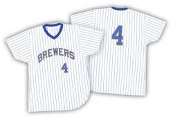 Paul Molitor Milwaukee Brewers Men's Replica White/ Strip Throwback Jersey - Blue