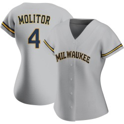 Paul Molitor Milwaukee Brewers Women's Authentic Road Jersey - Gray