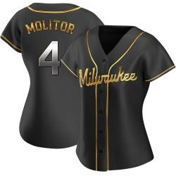 Paul Molitor Milwaukee Brewers Women's Replica Alternate Jersey - Black Golden