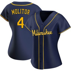 Paul Molitor Milwaukee Brewers Women's Replica Alternate Jersey - Navy