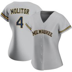 Paul Molitor Milwaukee Brewers Women's Replica Road Jersey - Gray