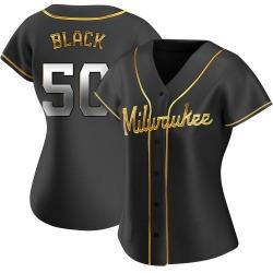 Ray Black Milwaukee Brewers Women's Replica Alternate Jersey - Black Golden