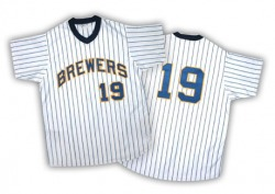 Robin Yount Milwaukee Brewers Men's Authentic White/ Strip Throwback Jersey - Blue