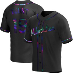 Robin Yount Milwaukee Brewers Men's Replica Alternate Jersey - Black Holographic
