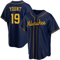 Robin Yount Milwaukee Brewers Youth Replica Alternate Jersey - Navy
