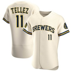 Rowdy Tellez Milwaukee Brewers Men's Authentic Home Jersey - Cream