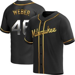 Ryan Weber Milwaukee Brewers Men's Replica Alternate Jersey - Black Golden