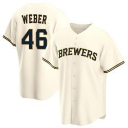 Ryan Weber Milwaukee Brewers Youth Replica Home Jersey - Cream