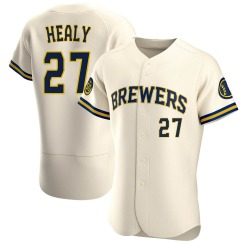 Ryon Healy Milwaukee Brewers Men's Authentic Home Jersey - Cream