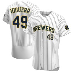 Teddy Higuera Milwaukee Brewers Men's Authentic Alternate Jersey - White