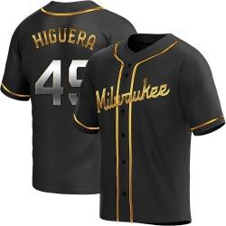 Teddy Higuera Milwaukee Brewers Men's Replica Alternate Jersey - Black Golden