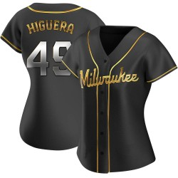 Teddy Higuera Milwaukee Brewers Women's Replica Alternate Jersey - Black Golden