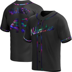 Teddy Higuera Milwaukee Brewers Youth Replica Alternate Jersey - Black Holographic