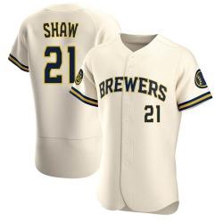 Travis Shaw Milwaukee Brewers Men's Authentic Home Jersey - Cream