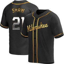 Travis Shaw Milwaukee Brewers Men's Replica Alternate Jersey - Black Golden
