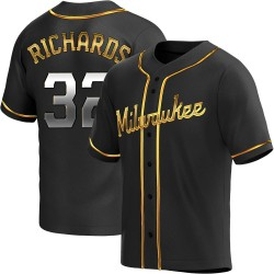 Trevor Richards Milwaukee Brewers Men's Replica Alternate Jersey - Black Golden