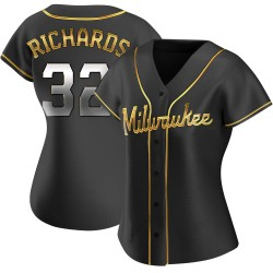 Trevor Richards Milwaukee Brewers Women's Replica Alternate Jersey - Black Golden