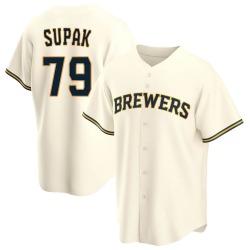Trey Supak Milwaukee Brewers Youth Replica Home Jersey - Cream