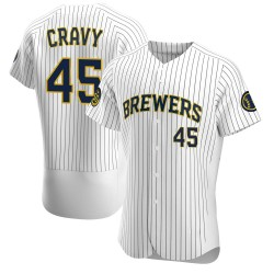 Tyler Cravy Milwaukee Brewers Men's Authentic Alternate Jersey - White
