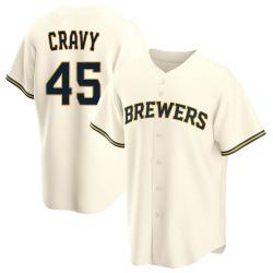 Tyler Cravy Milwaukee Brewers Men's Replica Home Jersey - Cream