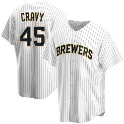 Tyler Cravy Milwaukee Brewers Men's Replica Home Jersey - White