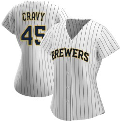 Tyler Cravy Milwaukee Brewers Women's Authentic /Navy Alternate Jersey - White